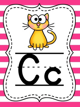 Nautical Classroom Theme Navy and Pink Phonics and Alphabet Posters Bundle