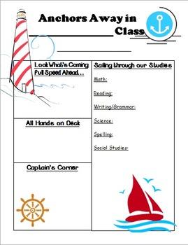 Nautical/Ocean Theme Newsletter