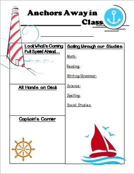 Nautical/Ocean Theme Newsletter