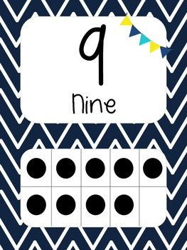 Nautical Theme Number Cards (yellow and navy)