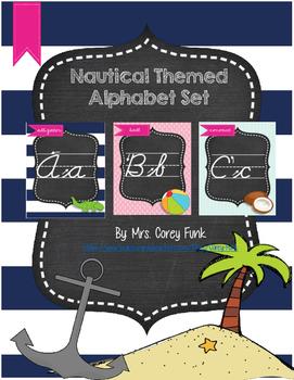 Nautical Theme Ocean Theme Alphabet Cards or Posters Cursive Font