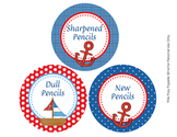 Nautical Theme Pencil Caddy Labels