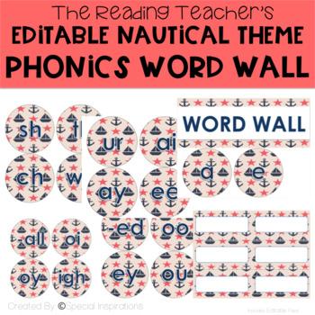 Editable Nautical Theme Phonics Word Wall