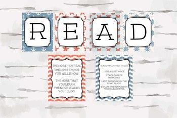 Nautical Theme READ decor, Reading Nook, Reading Corner, Dr. Seuss Quote, jpg