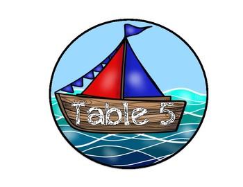 Nautical Theme Sailboat Table Numbers
