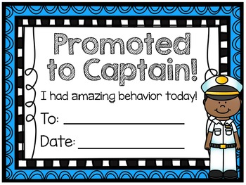 Nautical Theme Sailor Behavior Clip Chart