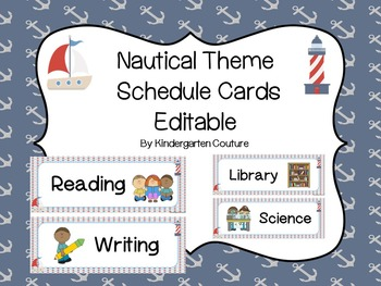 Nautical Theme Schedule Cards - editable