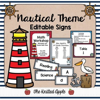 Nautical Theme Sign Templates {Editable}