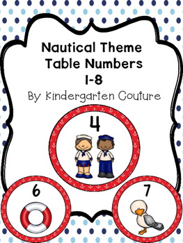 Nautical Theme Table Numbers