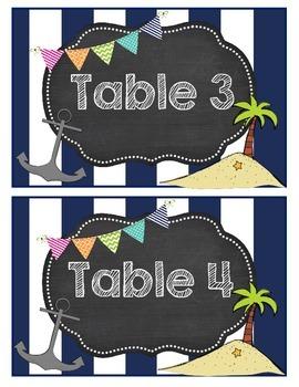 Nautical Theme Table Numbers Nautical Ocean Theme Table Numbers &  Team Names