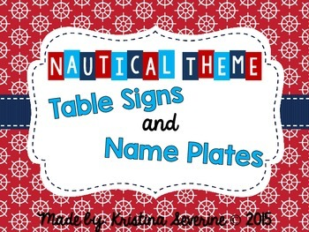 Nautical Theme Table Signs and Desk Name Plates