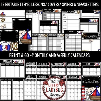 Nautical Theme Teacher Binder Editable [Planner, Newsletter Template, & More]