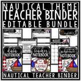 Nautical Classroom Theme Teacher Binder- Editable Newsletter Template & Calendar