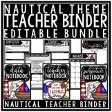Nautical Classroom Theme Teacher Binder- Editable Newsletter Template & Calendar