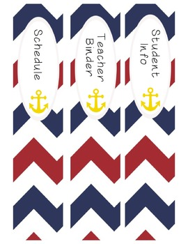 Nautical Theme Teacher Binder & Label Set