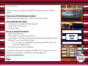 Nautical Theme Teacher Toolbox Labels