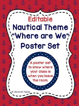 Nautical Theme Where Are We Poster Set