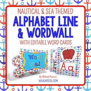 Nautical Theme Word Wall & Alphabet Line Posters {includes editable word cards}
