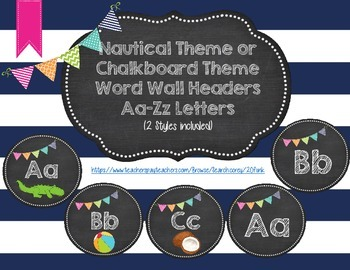 Nautical Theme Word Wall Headers Word Wall Letters Ocean Theme Chalkboard Theme