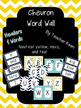 Nautical Theme Word Wall (yellow and navy)