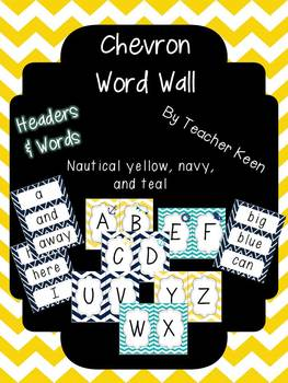 Nautical Theme Word Wall (yellow and navy)
