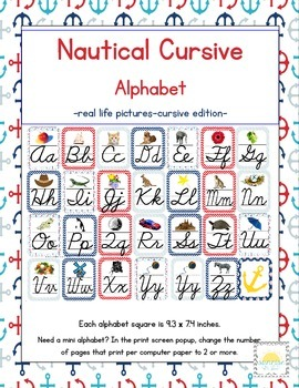 Nautical Themed ABC's Cursive Edition (with corresponding pictures