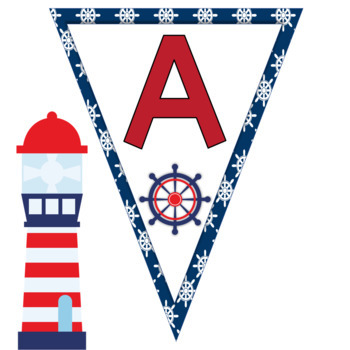 Nautical Themed Alphabet Bunting Banners