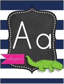 Nautical Theme Alphabet Card Set  Ocean Theme Beach Theme Chalkboard Theme