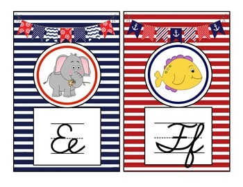 Nautical Theme Cursive Alphabet Mini Posters