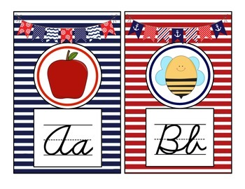 Nautical Theme Cursive Alphabet Mini Posters