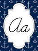 Nautical Themed Alphabet in Yellow and Navy