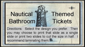 Nautical Themed Bathroom TIckets