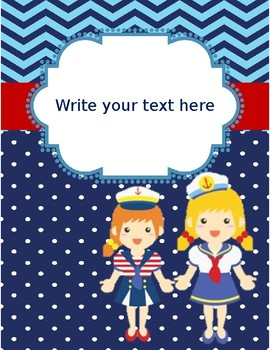 Nautical Themed Editable Binder Covers and Spines (Editable)