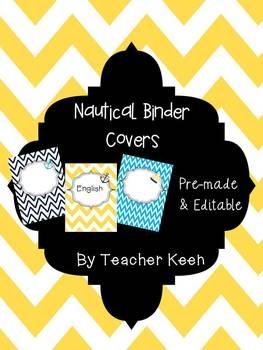 Nautical Themed Binder Covers (yellow and navy chevron)