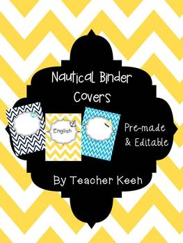 Nautical Themed Binder Covers (yellow and navy chevron)