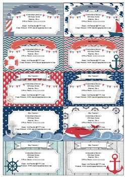 Nautical Themed Business Cards- EDITABLE