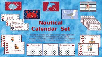Nautical Themed Calendar Set - English and Spanish