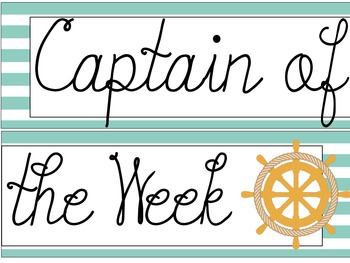 """Nautical Themed """"Captain of the Week"""" Sign"""