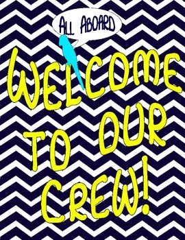 """Nautical Themed Chevron """"Welcome to Our Crew"""" Poster"""