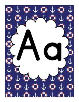 Nautical Themed Classroom Alphabet - Red, White & Blue