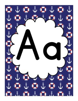 Nautical Themed Classroom Alphabet - Red, White & Blue