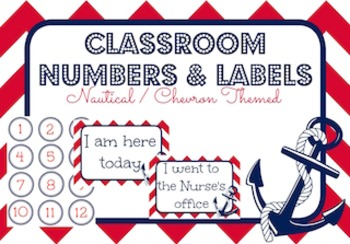 Nautical Themed Classroom Numbers & Labels