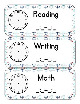 Nautical Themed Classroom Schedule Wording (only)