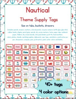 Nautical Themed Classroom Supply Tags