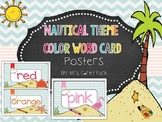 Nautical Themed Color Word Card Posters Beach theme