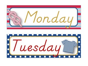 **Nautical Themed** Days of the Week (Today is, Yesterday was, Tomorrow will be)