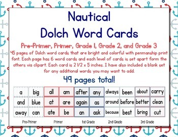Nautical Themed Décor Dolch Words (Pre-Primer- 3rd Grade)