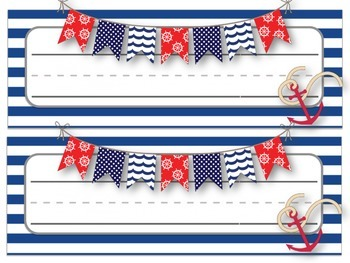 **Nautical Themed** Desk Name Tag