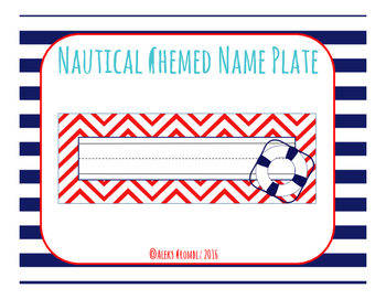 Nautical Themed Desk Name Tag (Non-Editable)