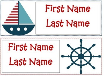 Nautical Themed Desk Tags - Editable!
